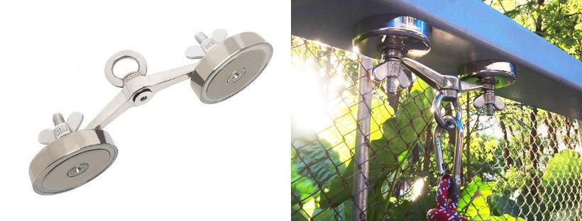 držák na magnety přilepený na zahradě