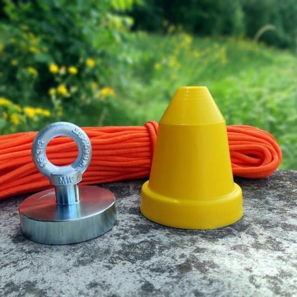 magnet 290 kg + ochranný kužel + hák + lano 30 metrů