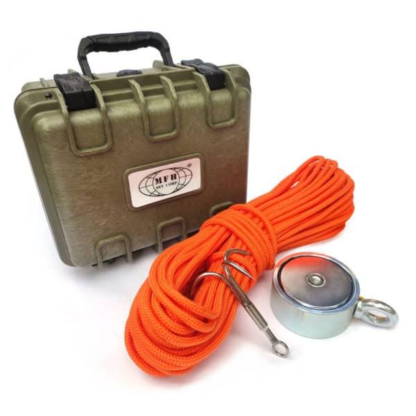 Magnet fishing set - oboustranný magnet 500 kg + hák + lano 30 metrů + přepravní box