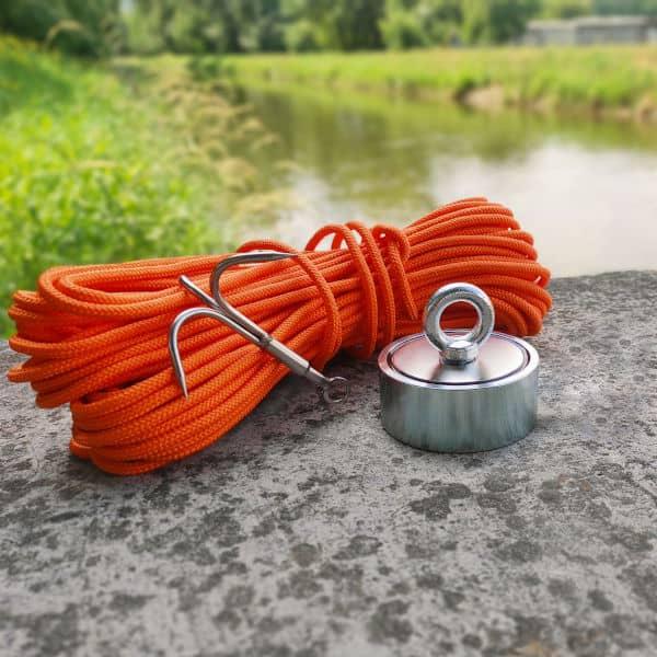 oboustranný magnet 500 kg + hák + lano 30 metrů